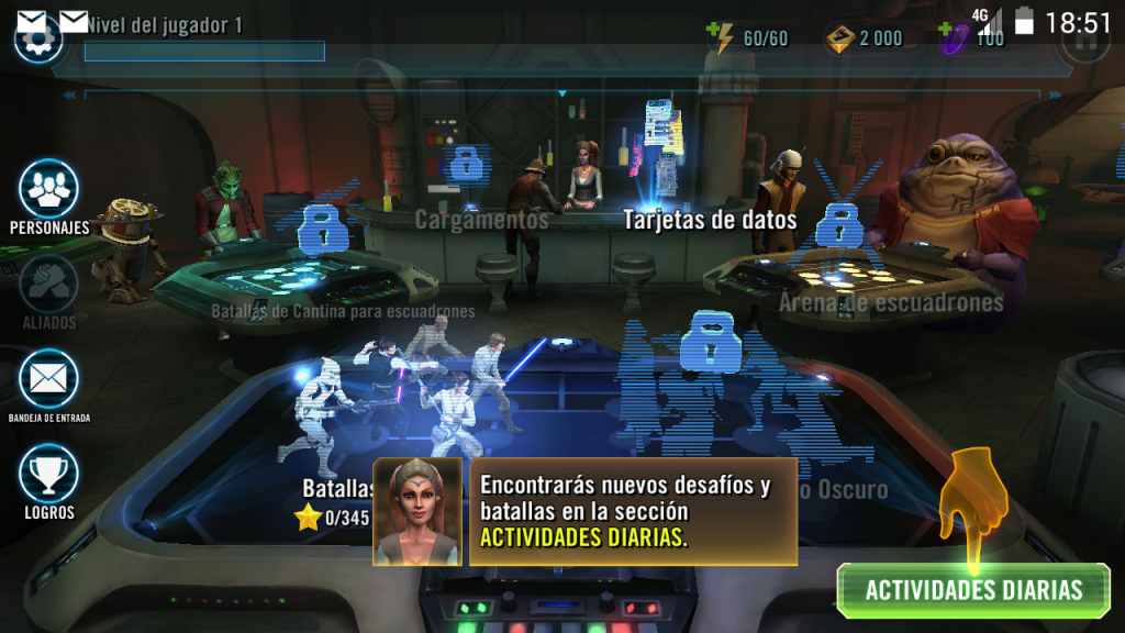 Star Wars: Galaxy of Heroes - El menú